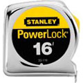 PowerLock®, Tape Rule, Imperial, 16 ft, 3/4 in, 1/32 on First 12 in, 1/16 Thereafter on Top and Bottom, ABS