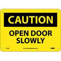 Caution Open Door Slowly Sign Rigid Plastic Yellow