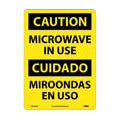 Caution Microwave in Use Sign, Bilingual, Rigid Plastic