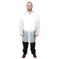 Disposable Lab Coat, Spun Bound Polypropylene, White, Snaps,